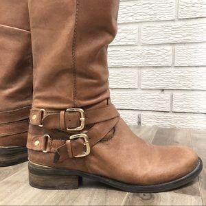 Steve Madden Shoes - Steve Madden Cognac Riding Boot Gold Accents